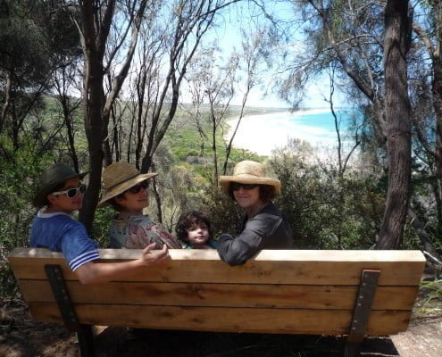 Great Ocean Rd -Eastern Beach Renata with granddaughter Amalia, & daughters Ruth and Esther