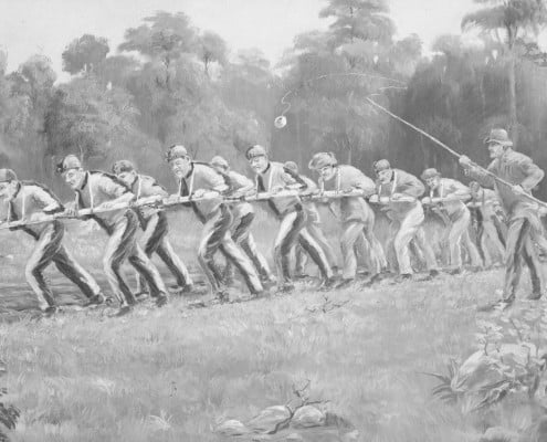 A convict ploughing team breaking up new ground at a farm in Port Arthur. Created circa 1838 by an unknown artist. Reprinted as a postcard circa 1926. State Library of Victoria